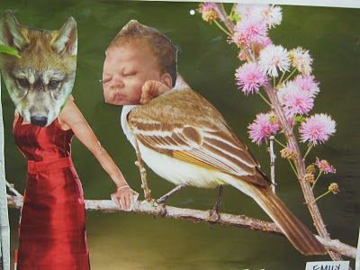 Baby bird and wolf mom. #collage