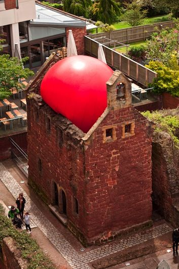 Kurt Perschke's RedBall Project -  Exeter Almshouse, UK