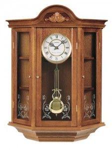 Seiko Wall Curio Cabinet Clock Dark Brown Solid Oak Case Pendulum Wall Clock Wall Curio Cabinet Wall Clock