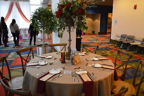 Gervasi Vineyard reception table as seen at the Today's Bride Show, winery wedding ideas, rustic wedding ideas