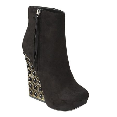 """Almond toe platform bootie with architectural shaped jeweled heel.  Full side zipper closure.  Leather upper.  Measurements: heel 5 1/4"""" and platform 1 1/4""""."""