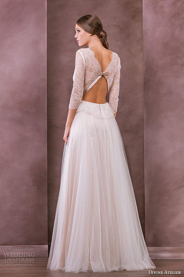 c120e94f83b0 divine atelier wedding dress 2015 bridal three quarter 3 4 sleeves v  neckline a line gown celia back