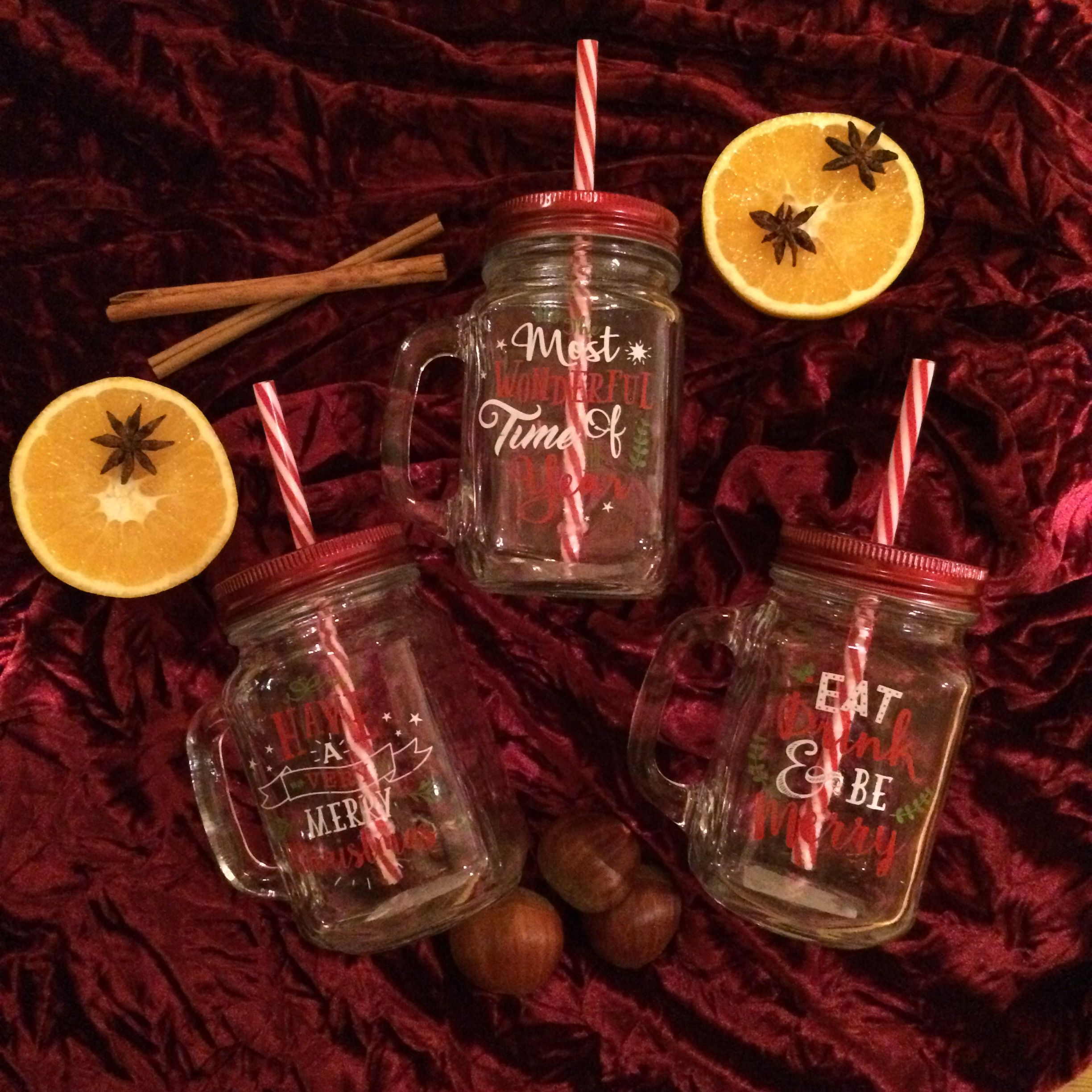 Glass Drinking Jar With Christmas Slogan
