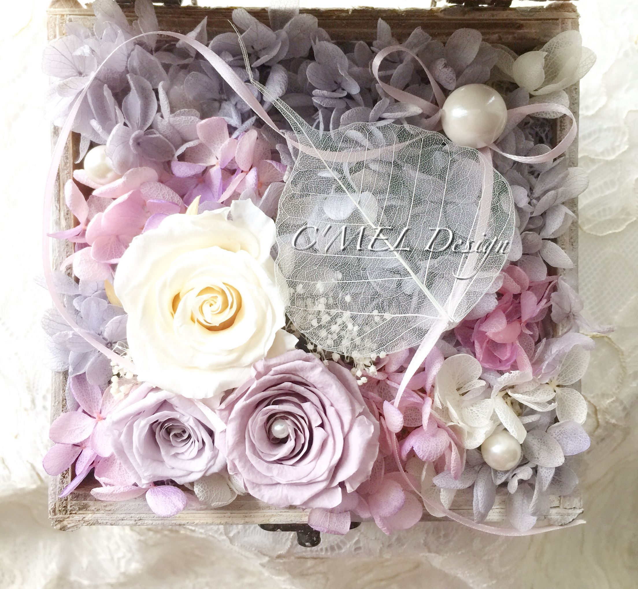 Purple flower box: the preserved fresh flower box was composed by two 5 cm…