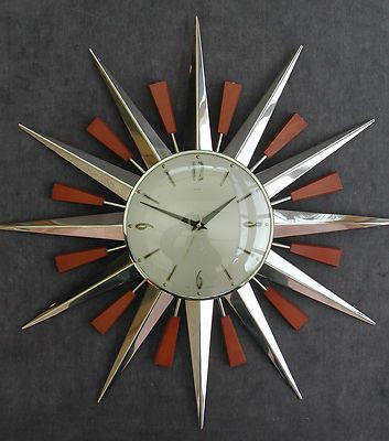vintage 1960s metamec retro teak u0026 chrome sunburst wall clock atomic modernist