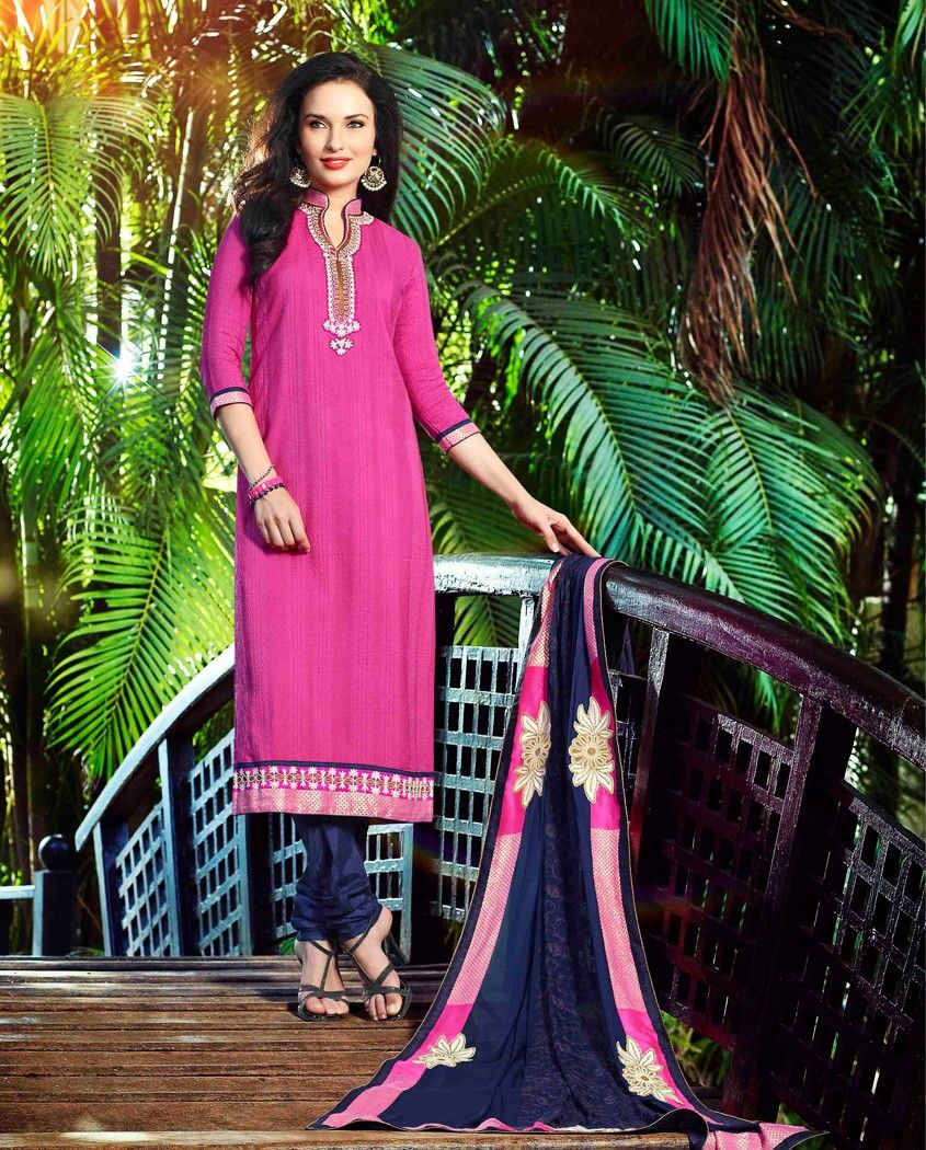 Pink and blue straight long suit pink and blue cotton straight