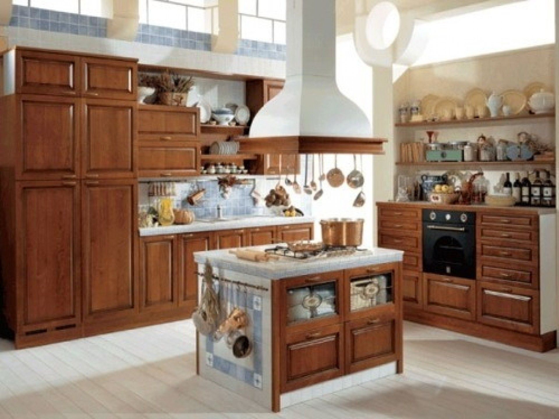 brown white kitchen island vent mixed tiered wall shelves