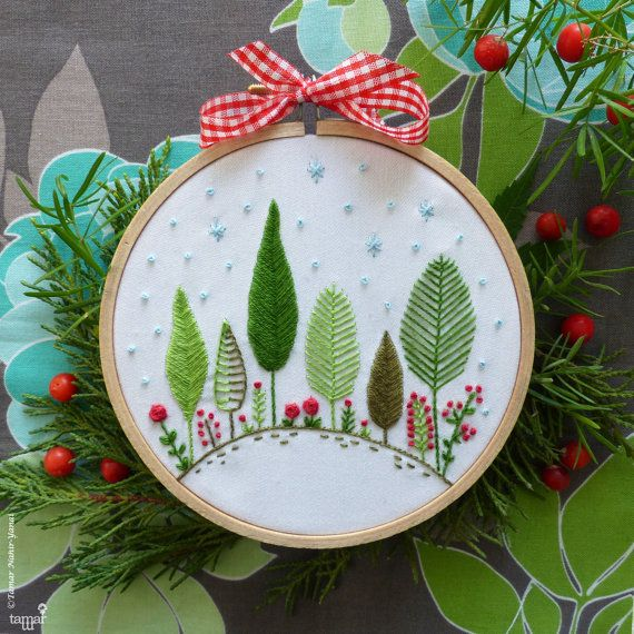 christmas gift christmas ornament christmas forest embroidery kit christmas tree ornament holiday decor tamar nahir - Embroidered Christmas Ornaments