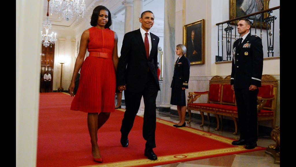 Michelle Obama In Pleated Red Dress Michelle Obama