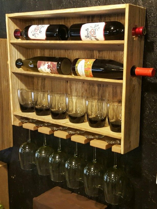 Country Rustic Wine Rack With Stemmed And Stemless Wine Glass