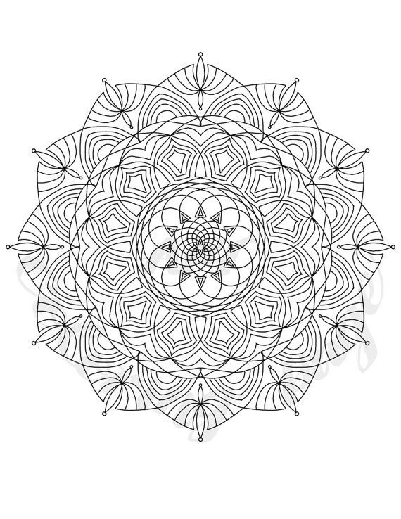 Adult Coloring Book Pages, Printable Instant Download, Kaleidoscope ...