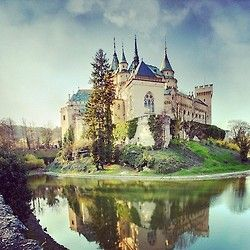 Bojnice #Castle, Slovakia - rated as one of the 25 most beautiful castles in Europe  It is one of the most visited medieval Romantic castles in Slovakia. Gothic and Renaissance elements. Bojnice Castle was first mentioned in written records in 1113.