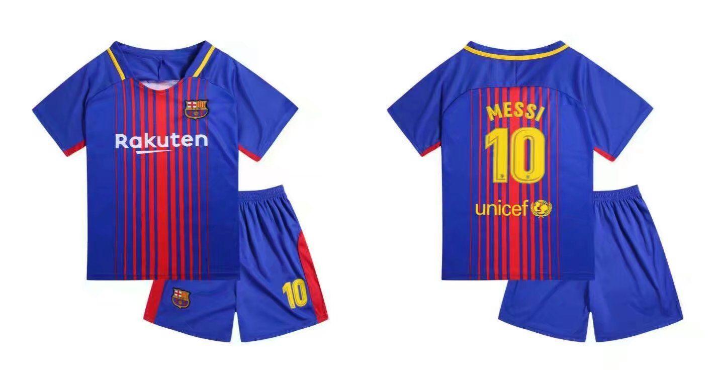 1718 kids barcelona home soccer jersey uniform shirt