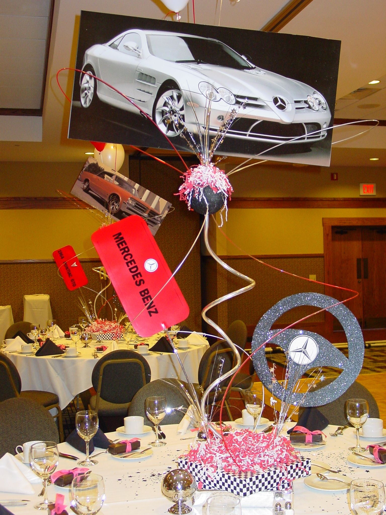 Luxury Car Party Car Themed Parties Cars Theme Birthday Party Bar Mitzvah Centerpieces