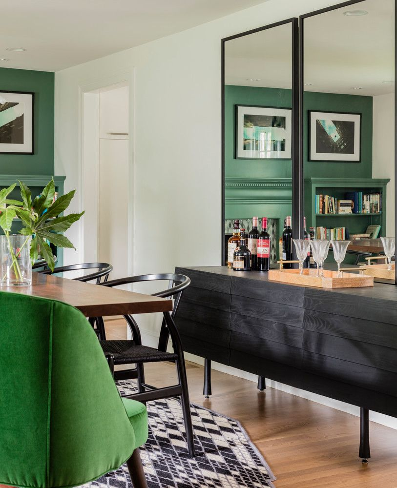 Chic Mirrors Over A Bar Console
