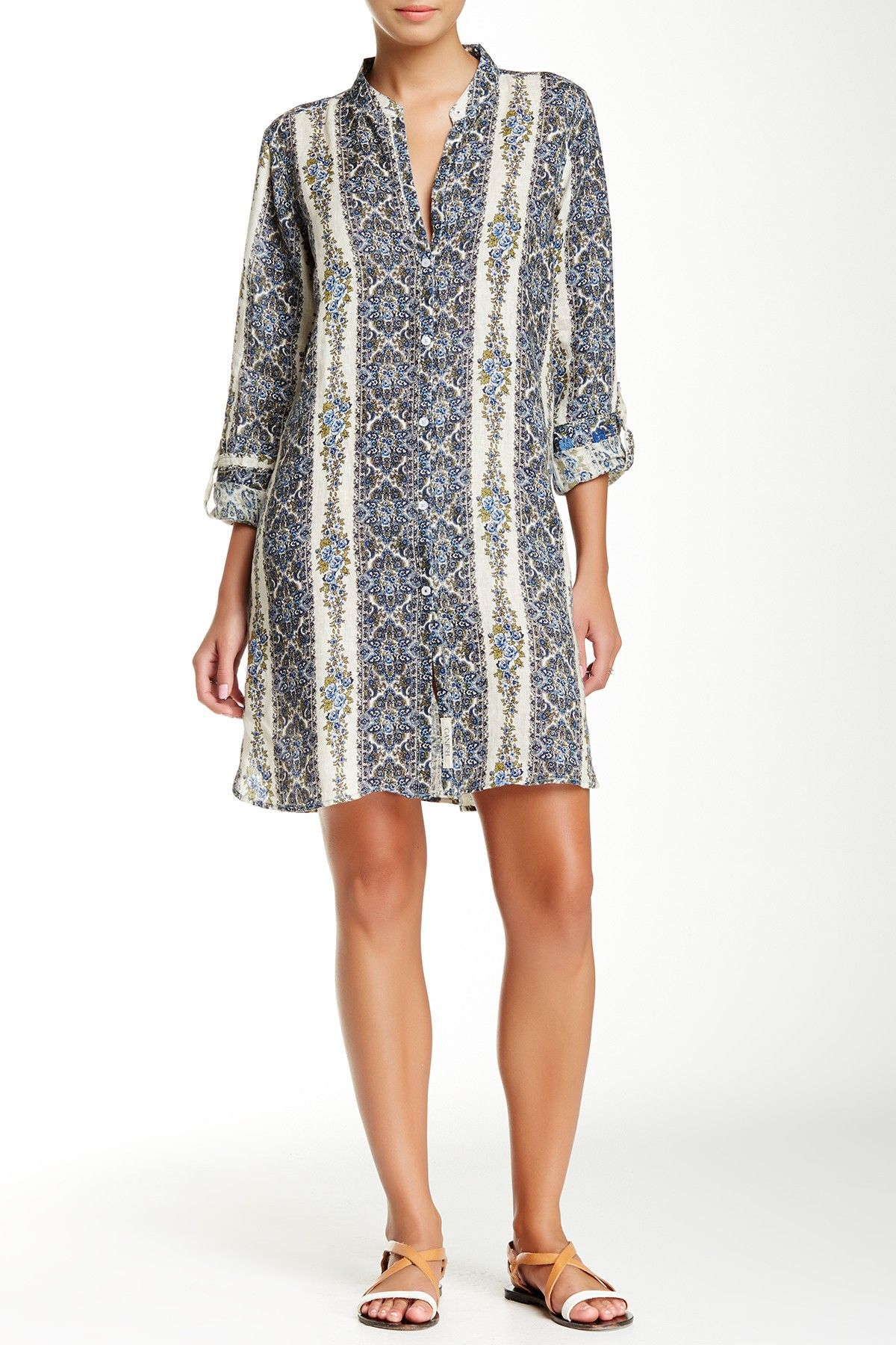 5fe7cd4bf1 Printed Linen Shirt Dress