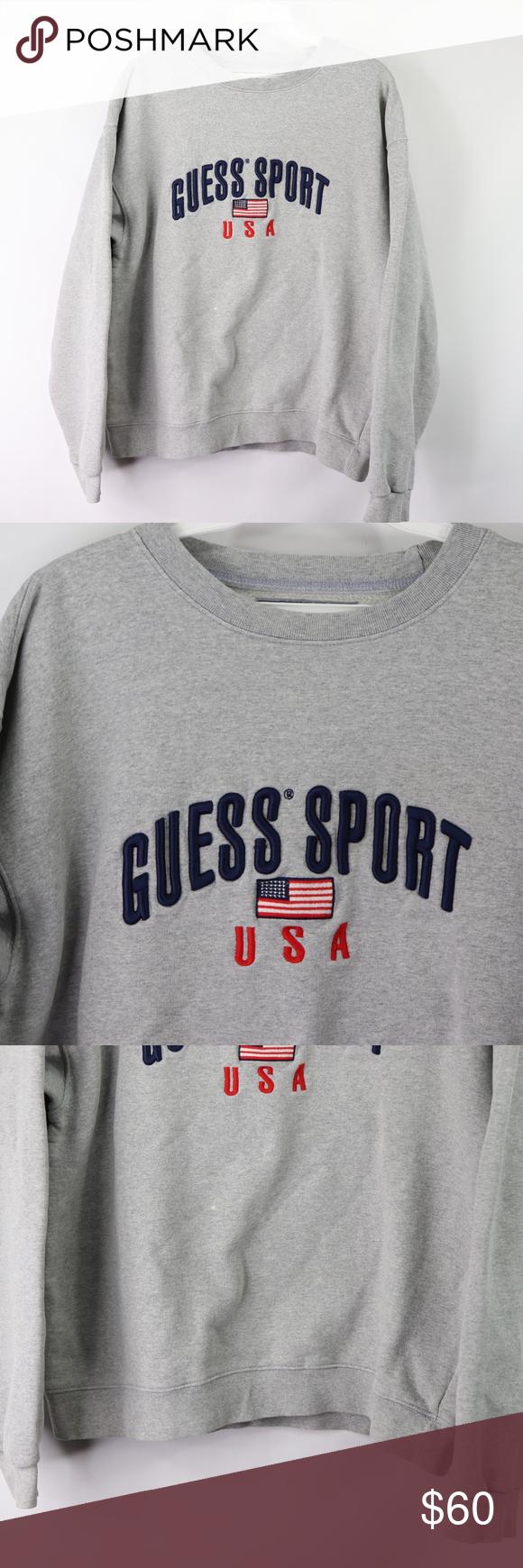Guess Sport Mens Medium Usa Flag Crewneck Sweater Vintage 90s Guess Sport Flag Spell Out Crewneck Sweatshirt Crew Neck Sweater Crew Neck Sweatshirt Sweatshirts [ 1740 x 580 Pixel ]