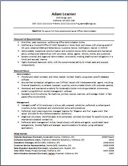 Cv Template Canada Functional Resume Template Functional Resume Resume Objective Sample