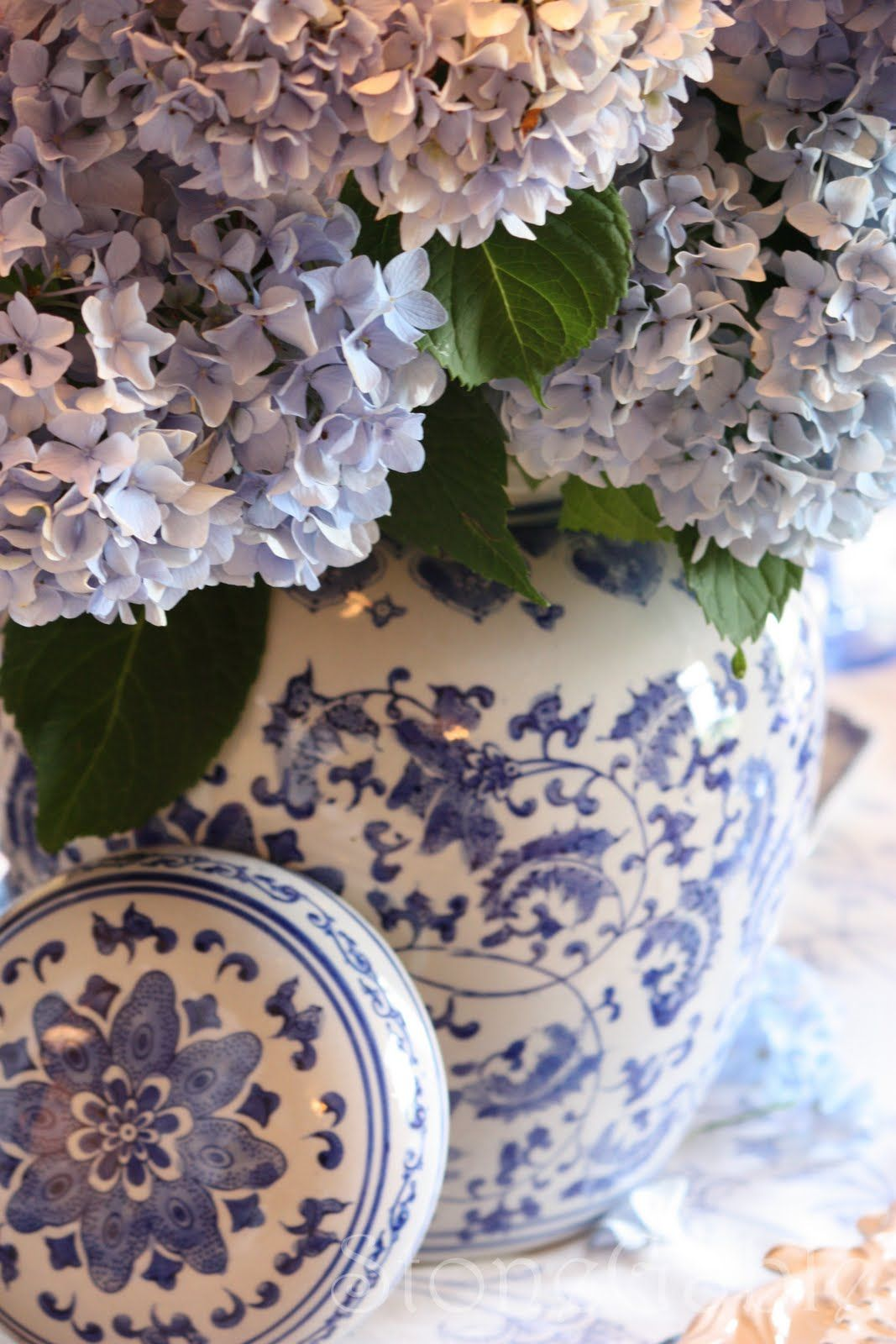 Blue And White Summer Tablescape Blue And White Vase Blue White Decor Blue And White