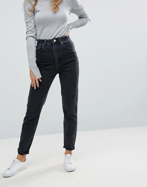 08c21e5c79 DESIGN Farleigh high waisted slim mom jeans in washed black ...