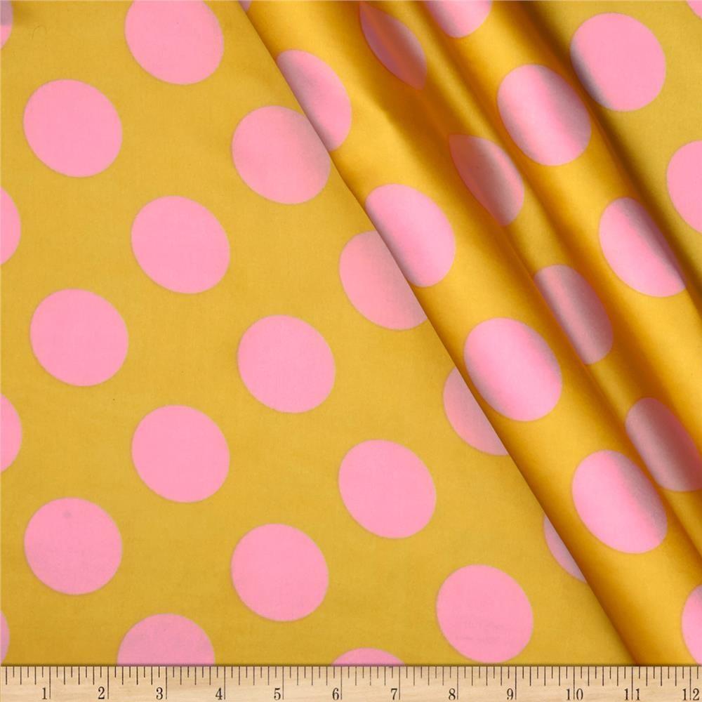 Charmeuse Satin Large Polka Dots Yellow/Pink - Discount Designer ...