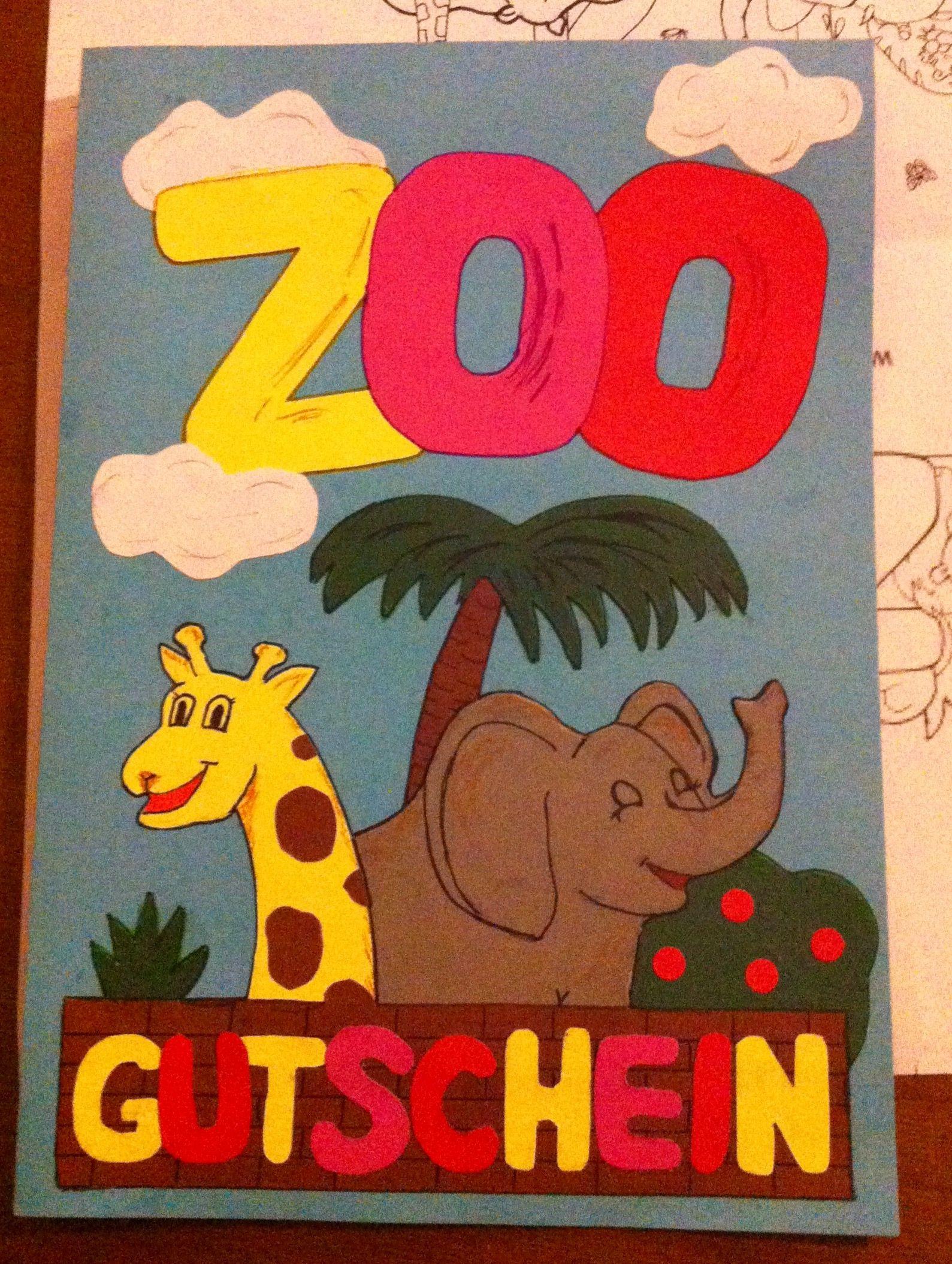 Geburtstagskarte Gutschein Fur Einen Zoobesuch Gutschein Basteln Kinder Gutschein Basteln Gutschein Gestalten