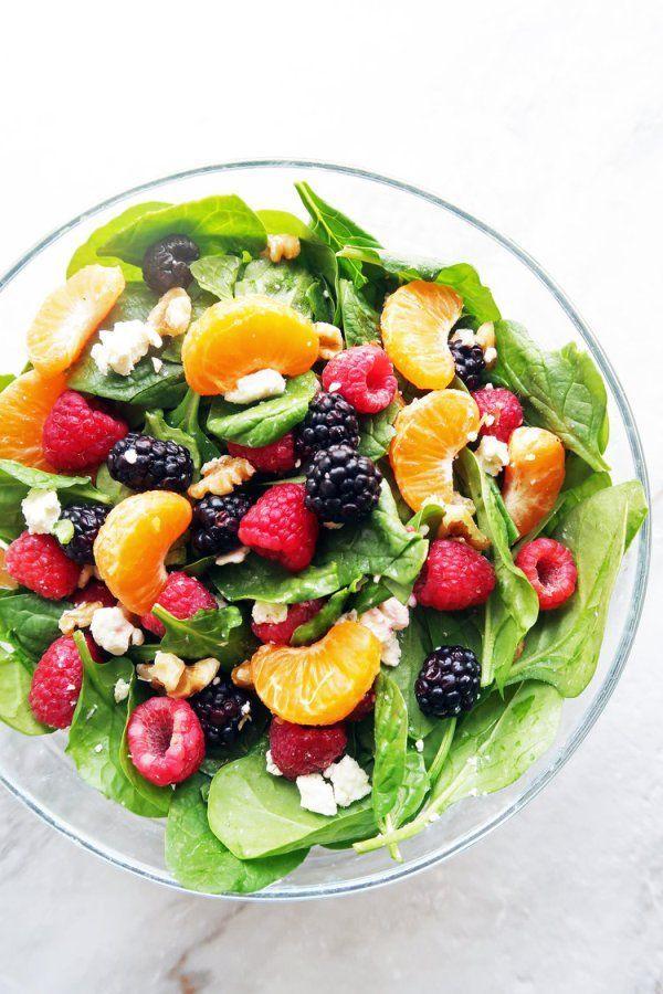Berry Orange Spinach Salad With Citrus Balsamic Vinaigrette   - Salads -