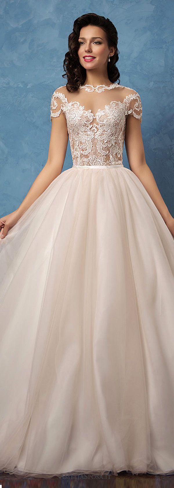 Stunning tulle u satin bateau neckline seethrough in wedding