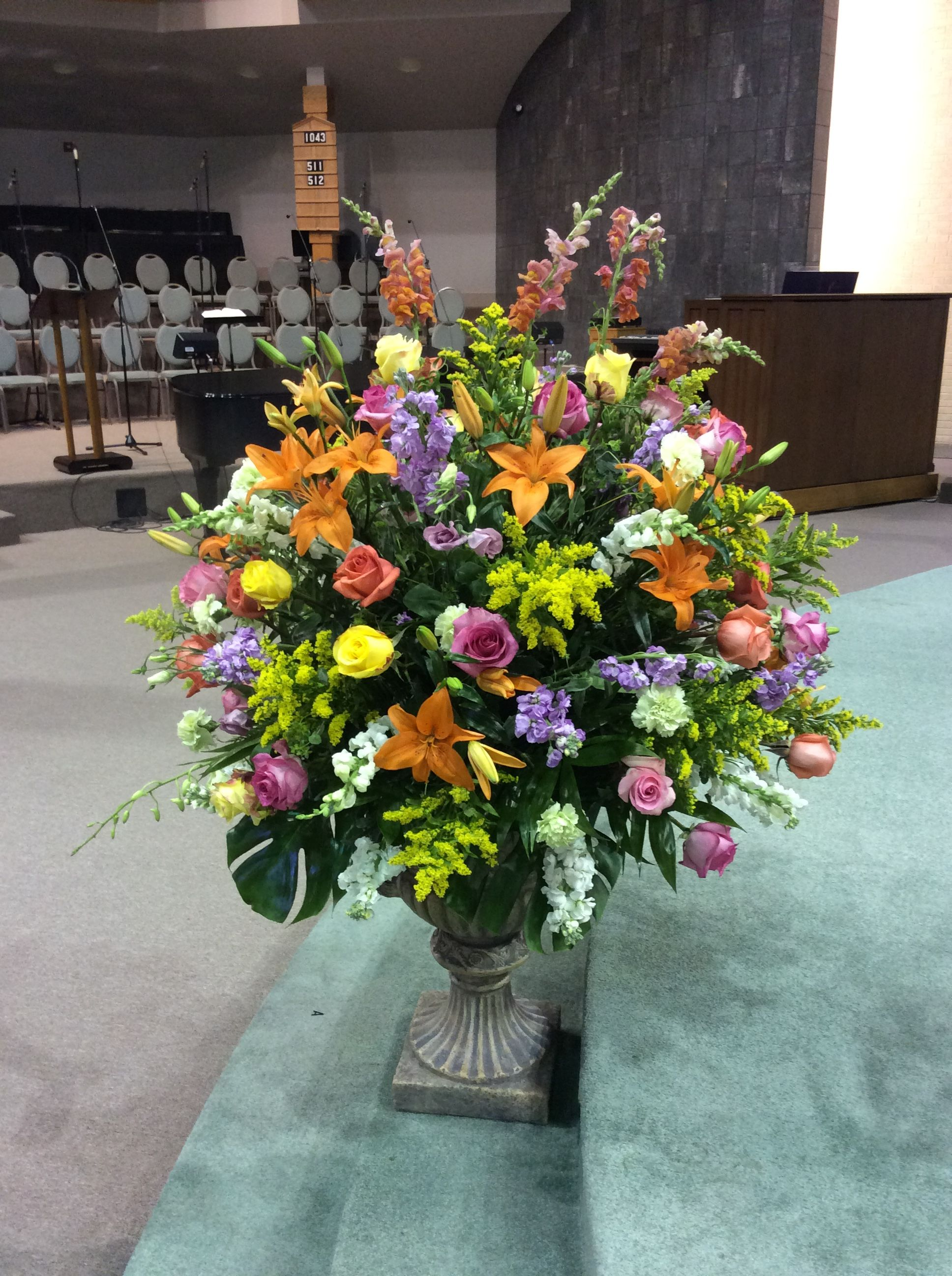 Easter Altar Flower Arrangement. Epiphany Of The Lord Catholic ...