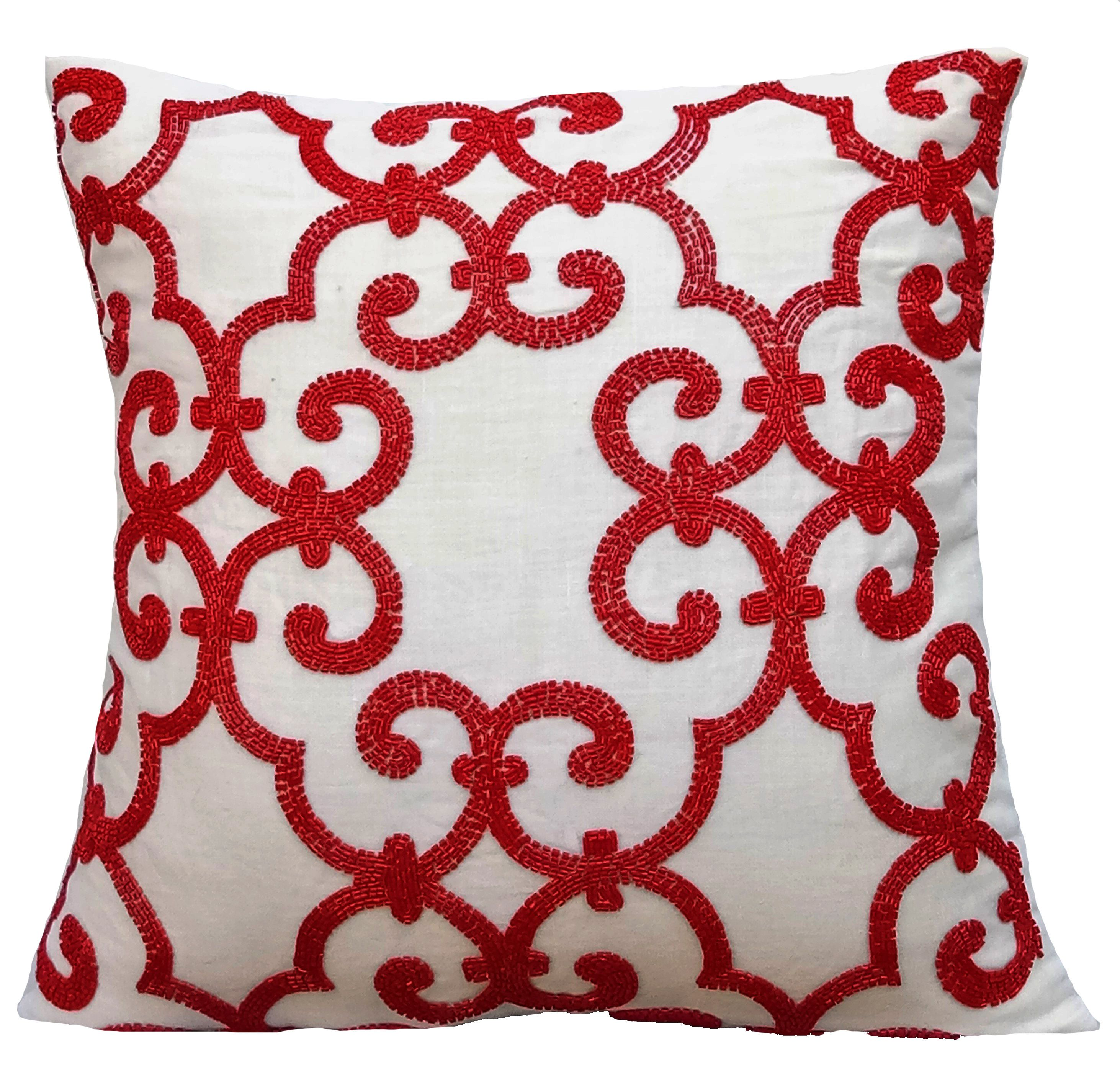throw pillows royal velvet self solid flange crafted x products hand red pillow designer with cushion