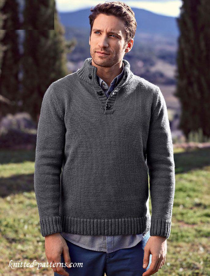 Button Neck Sweater Knitting Pattern Free Knitting Projects