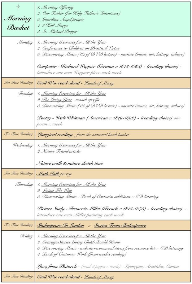 Morning Basket blank schedule grid template #morningtime - homeschool schedule template