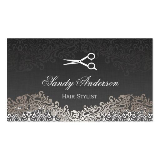 Vintage elegant silver damask indie hair stylist business card reheart Gallery