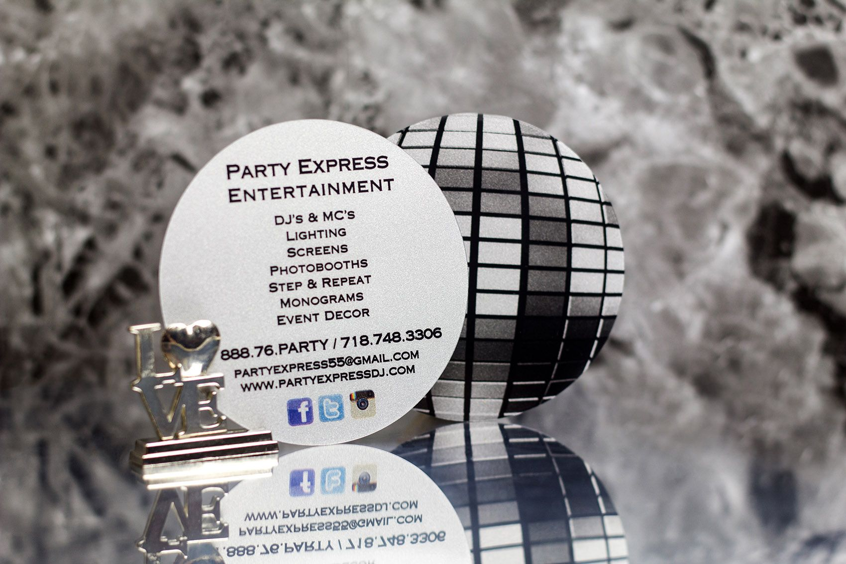 ignite conversation with custom plastic disco ball business cards