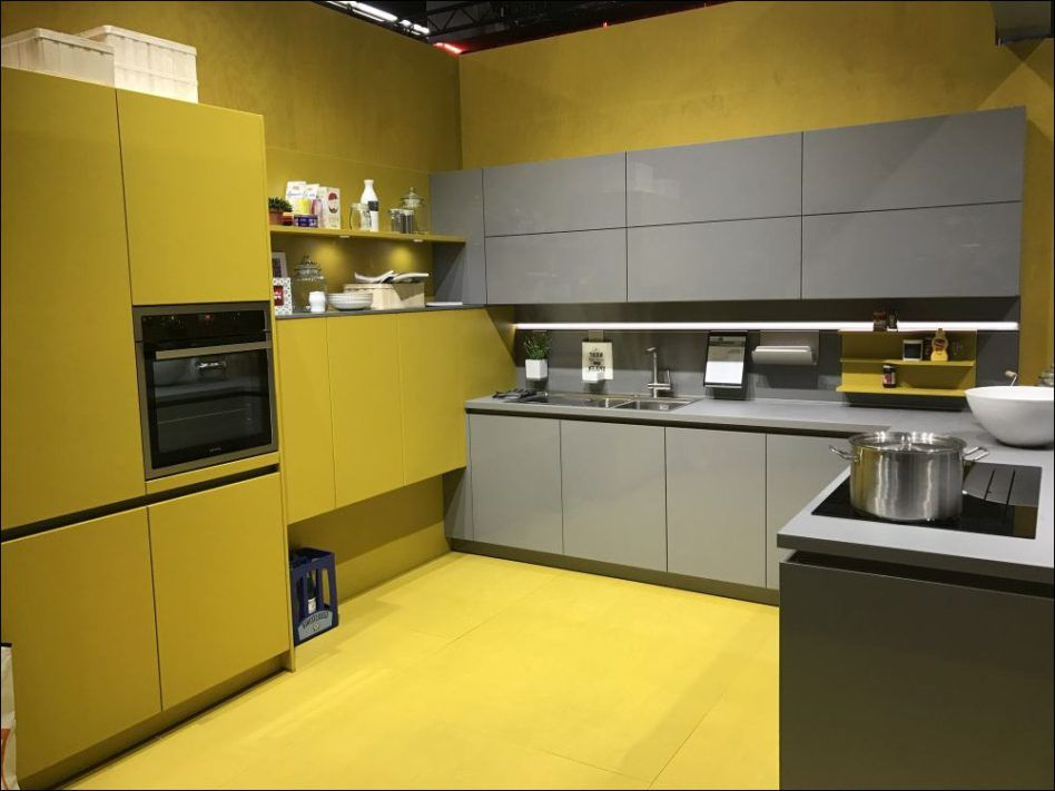 Kitchen U Shaped Yellow Gray Lacquered Glass Wooden Cabinets Double Stainless Steel Drop In Sinks Groh Yellow Kitchen Yellow Kitchen Designs Kitchen Bar Design
