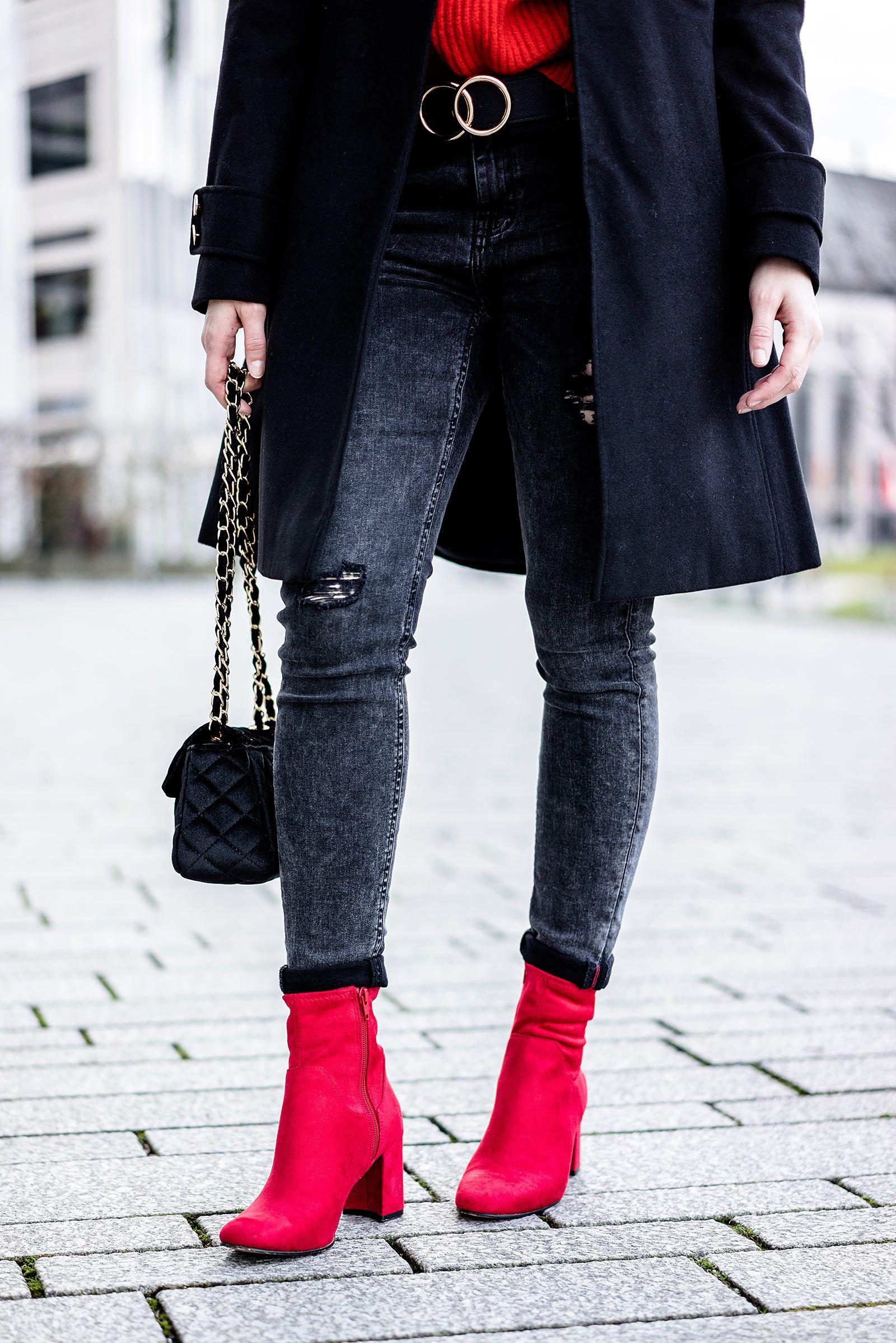 Faszinierend Stiefeletten Kombinieren Ideen Von Rote Schuhe – So Geht