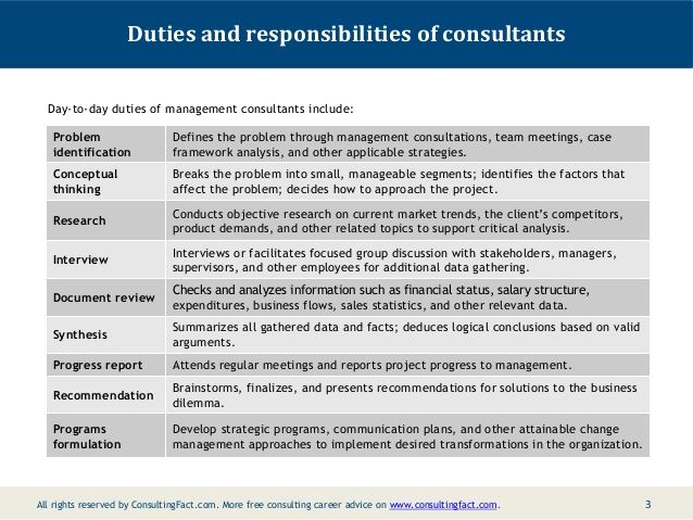 duties and responsibilities of consultants day