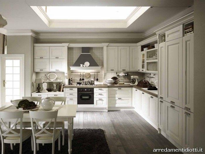 Cucina s75 classica bianca diotti a f arredamenti for Cucina classica bianca