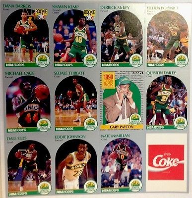 1990-91 Coca Cola Uncut Sheet Seattle Sonics With Gary Payton, Shawn Kemp Rookie