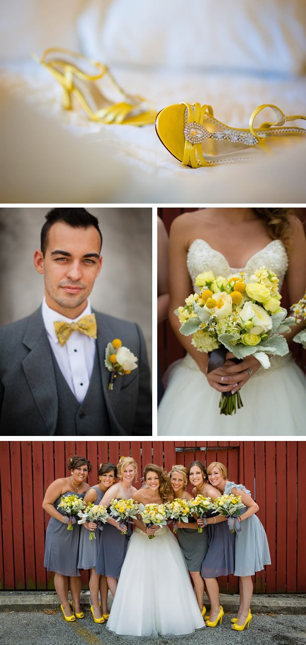 Lively whimsical yellow and gray wedding in indiana weddingwire