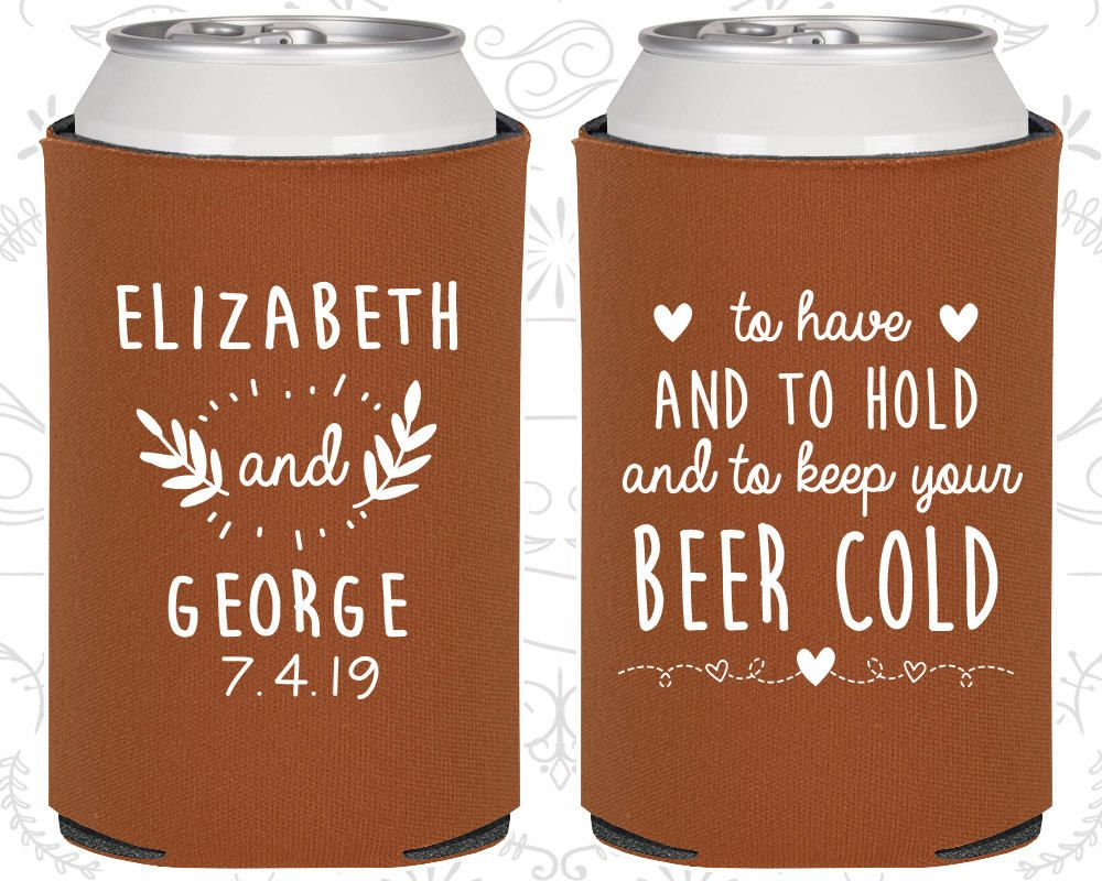 Burnt Orange Wedding Can Coolers Favors Gift