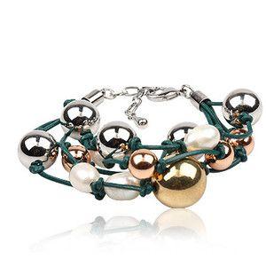 Bracelet Pearl and Green Leather - Bonami