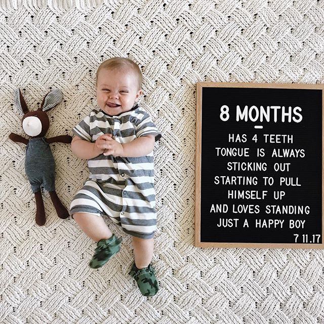 Holy Moly That Sure Was A Quick Month Already 8 Months Old And 4 Teeth Deep He Sure Keeps That Tongue Baby Photoshoot Boy Baby Boy Fall Outfits 8 Month Baby