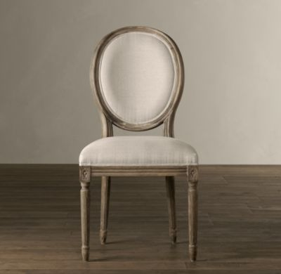 Vintage French Round Fabric Side Chair French Dining Chairs