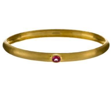 Gold and Pink Sapphire Bangle Bracelet