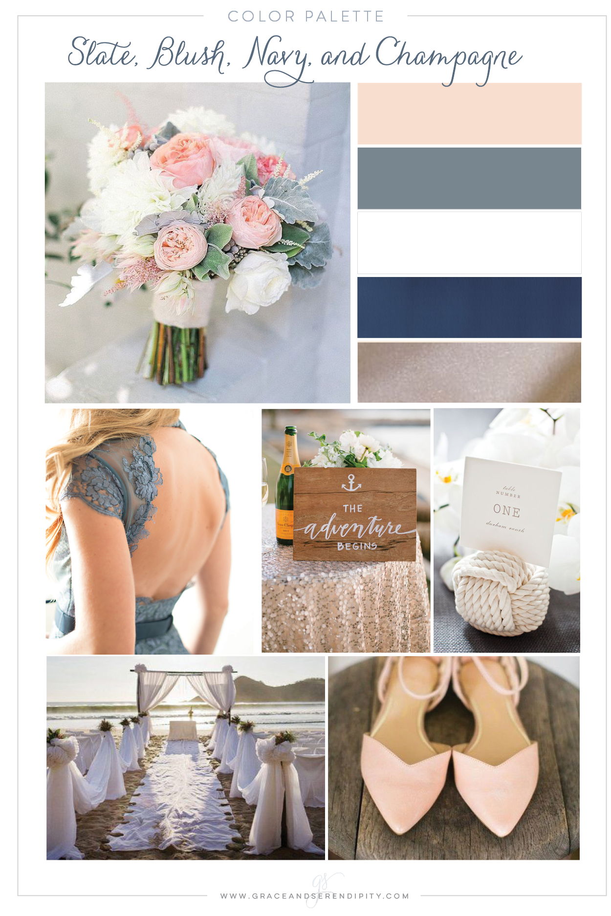 Navy blush slate gray and champagne nautical wedding color navy blush slate gray and champagne nautical wedding color palette by grace and junglespirit Gallery