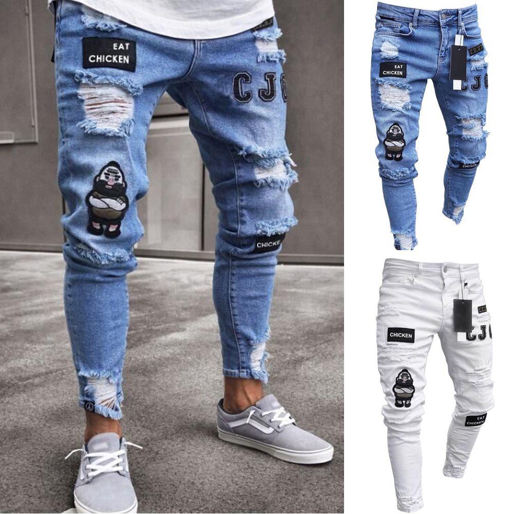 Los Nuevos Hombres Elastico Ripped Skinny Jeans Biker Destruido Pegado Slim Fit Pantalones De Mezclilla Para Hombres Pantalones Casuales Pantalones De Hombre Moda Ropa De Moda Hombre Pantalones De Mezclilla
