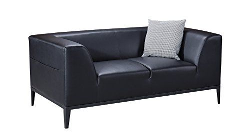 American Eagle Furniture Minimal Living Room Bonded Leather Upholstered  Loveseat With Throw Pillow Black * Be
