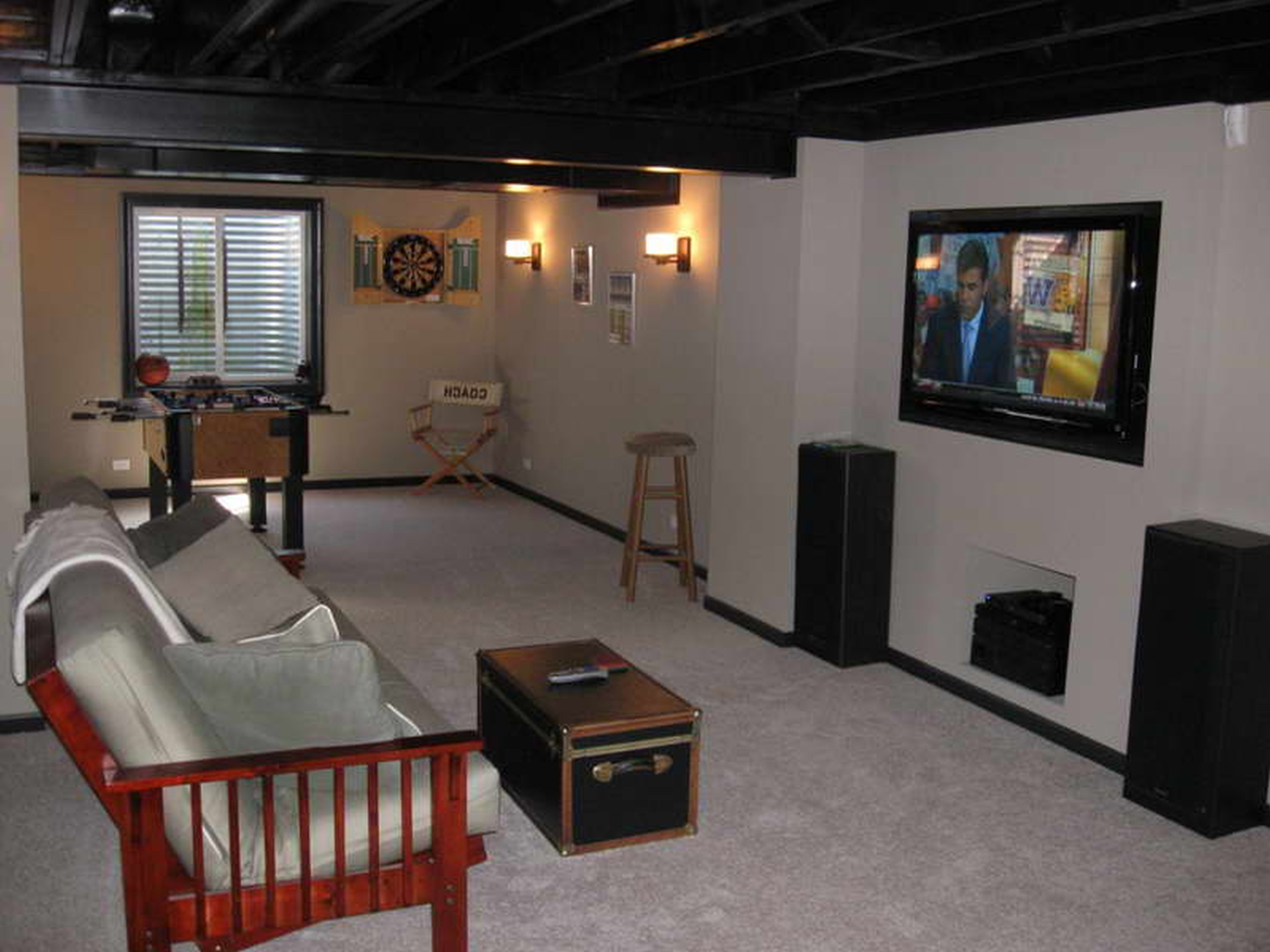 Basement Tv Ideas Awesome Cheap Decorating Ideas For Unfinished Basements