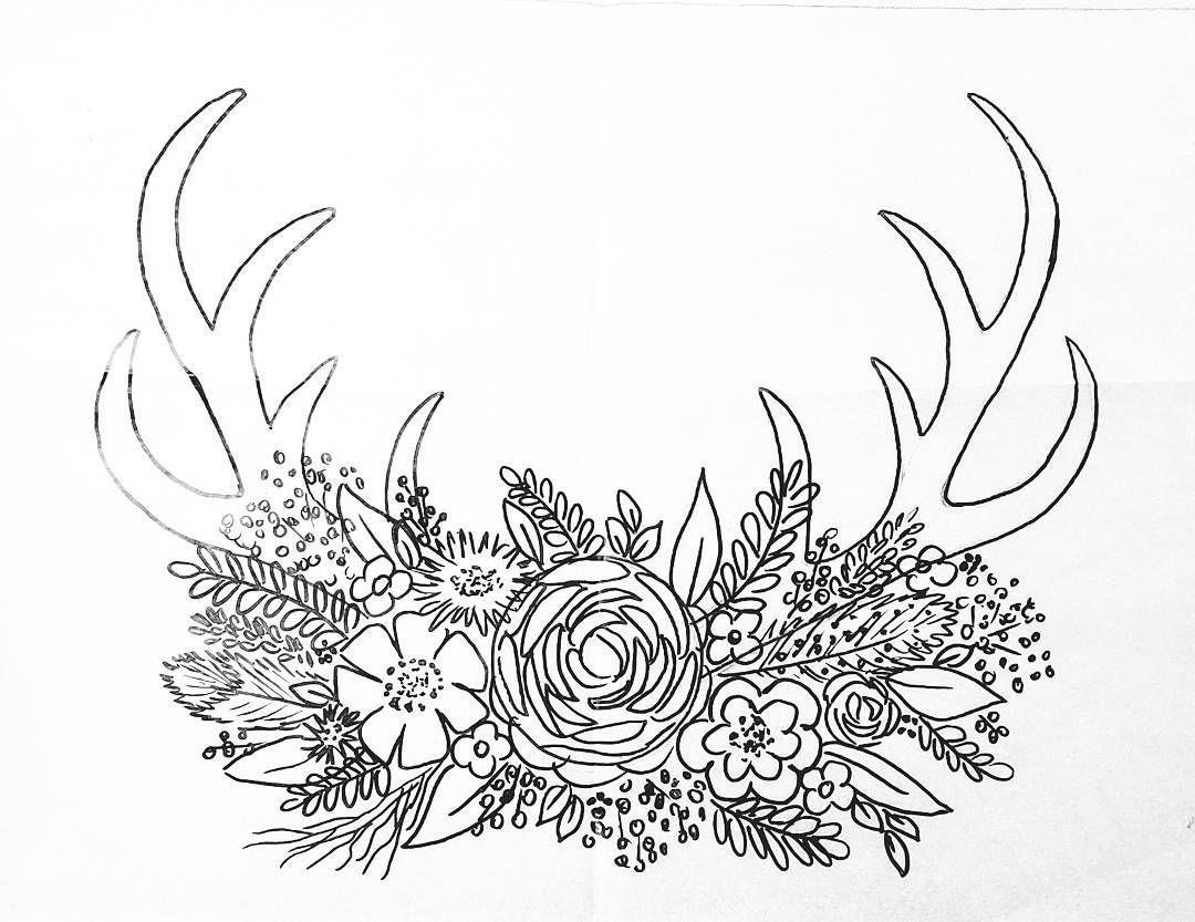 Free Printable Coloring Sheet Deer Antler Traceable Angelafineart